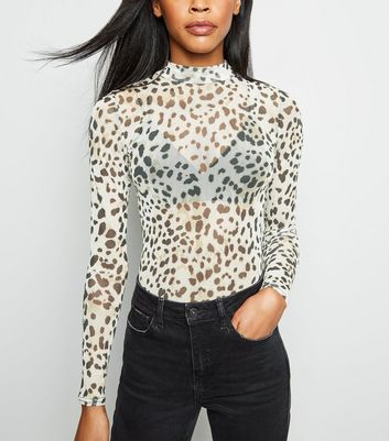 Brown Leopard Print High Neck Mesh Bodysuit