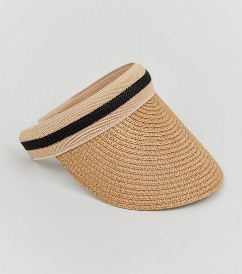 166a319d5cd ... Tan Straw Effect Visor Hat ...