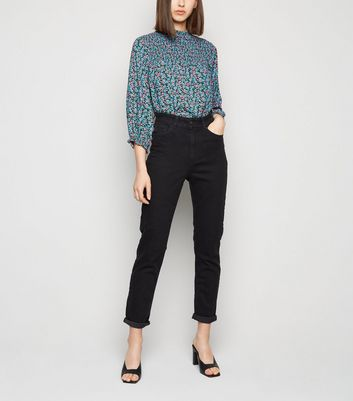 Black Waist Enhance Slim Mom Jeans