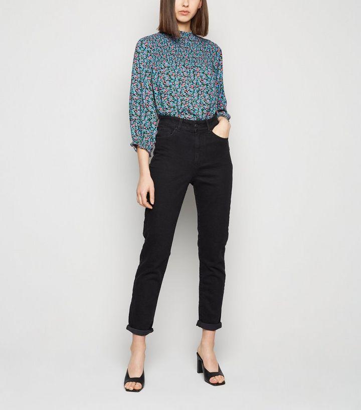 4502c998ca Black Washed Waist Enhance Slim Mom Jeans | New Look