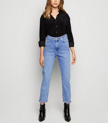 Pale Blue Waist Enhance Slim Mom Jeans
