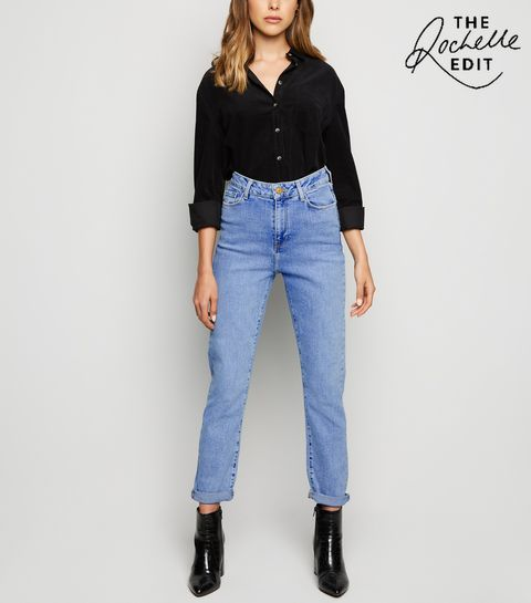 b0fb68e4358 ... Pale Blue Waist Enhance Slim Mom Jeans ...