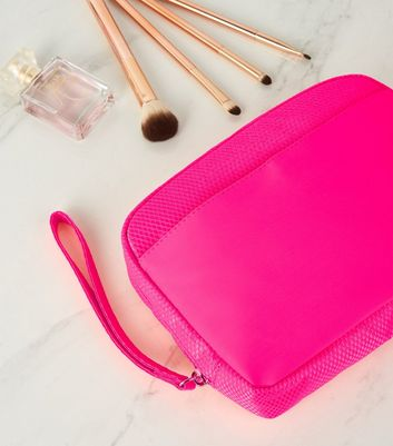 Bright Pink Neon Mesh Pouch Bag