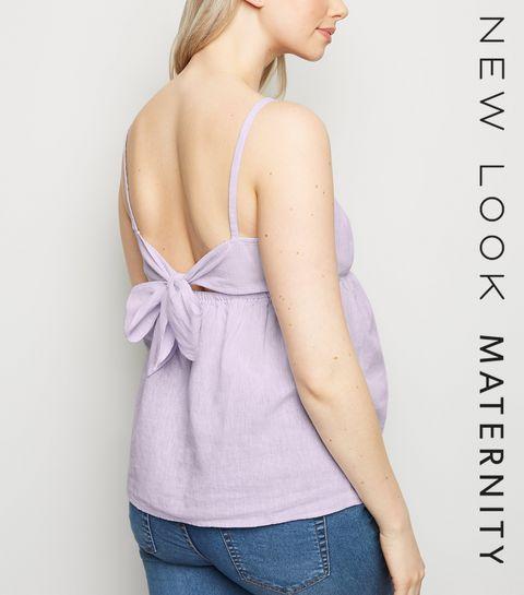 0af4620063aa5 ... Maternity Lilac Linen Blend Tie Back Cami ...