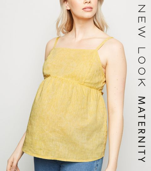 793a1102a355f ... Maternity Yellow Linen Blend Tie Back Cami ...