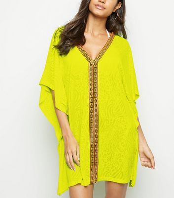 Yellow Neon Leopard Burnout Tape Trim Kaftan