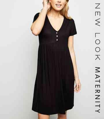 3857298ed5bd5 Maternity Black Button Front Nursing Smock Dress ...