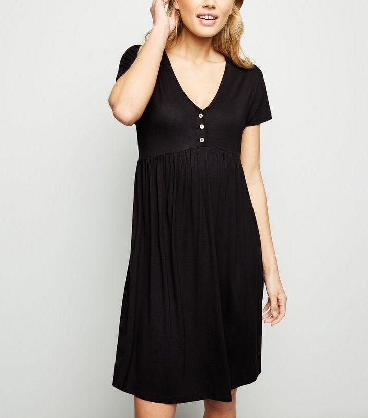 1751cff40ca83 Maternity Black Button Front Nursing Smock Dress   New Look