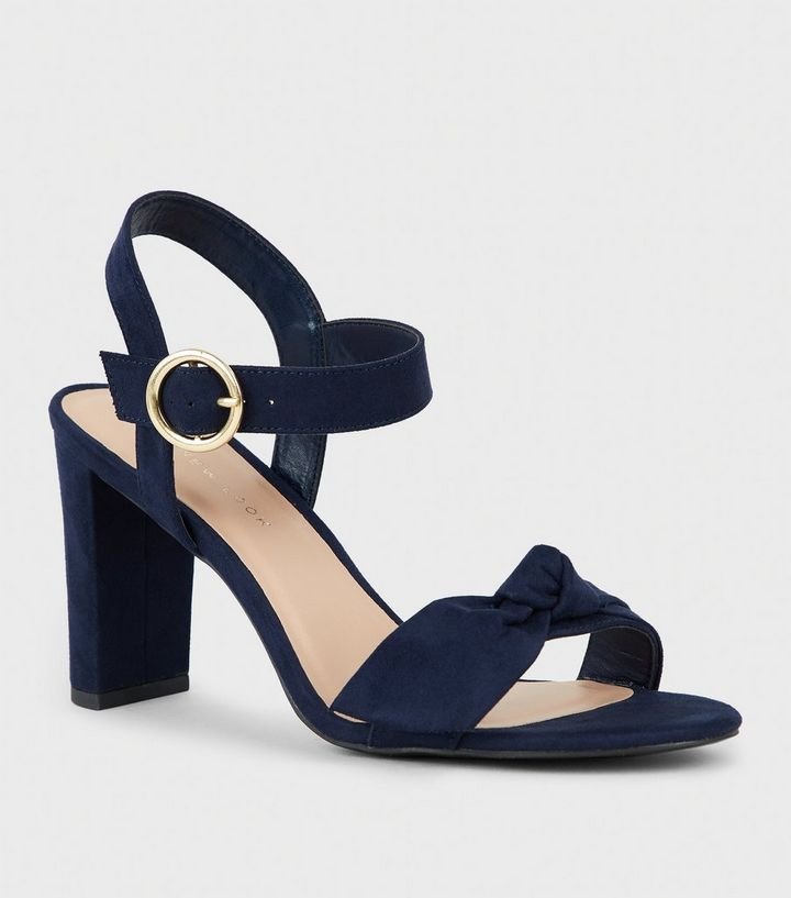 152a4b8eeae Wide Fit Navy Suedette Bow Strap Block Heels