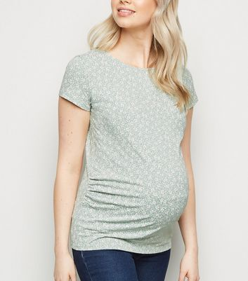 Maternity Mint Green Ditsy Floral T-Shirt