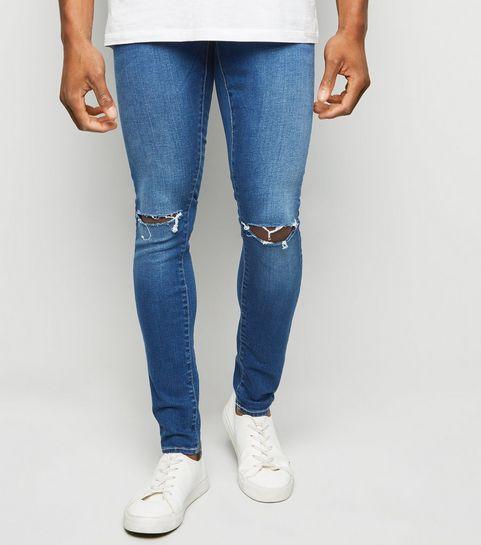 c216c860d ... Bright Blue Ripped Super Skinny Stretch Jeans ...