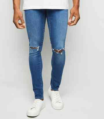 a78f178a17 Bright Blue Ripped Super Skinny Stretch Jeans ...