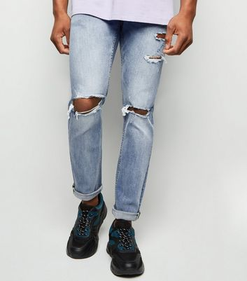 Blue Washed Skinny Stretch Ripped Knee Jeans
