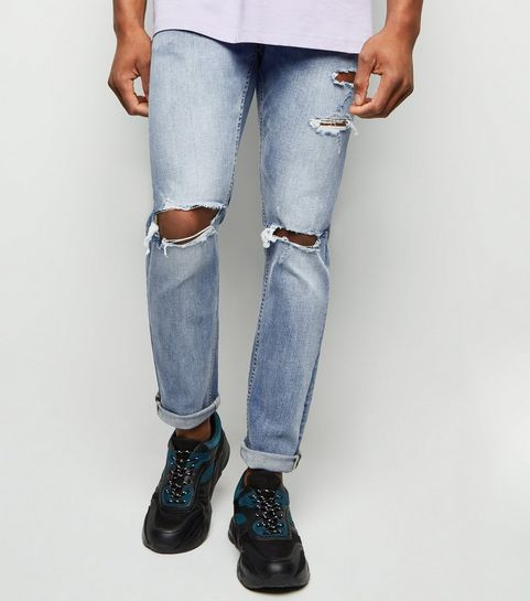 86d626d07f ... Blue Washed Skinny Stretch Ripped Knee Jeans ...