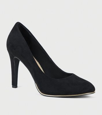 Wide Fit Black Metal Trim Sole Heeled Courts
