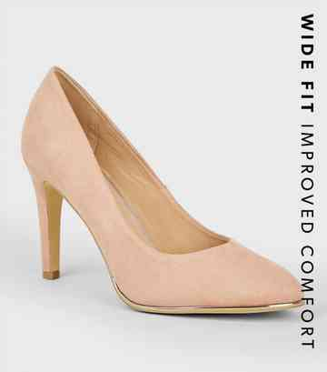 Wide Fit Nude Suedette Metal Trim Courts