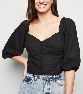 Black Sweetheart Neck Linen Blend Milkmaid Top