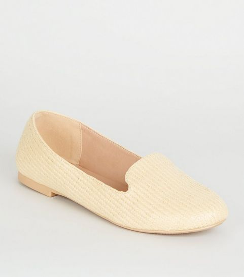 b6df719f5cf ... Off White Woven Straw Effect Loafers ...