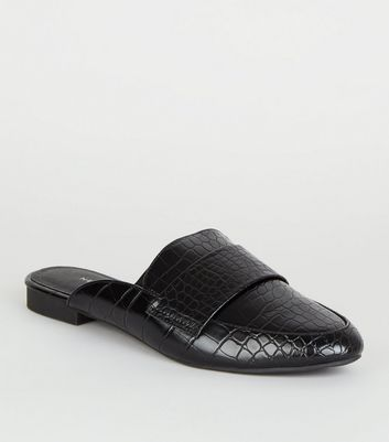 Schwarze Loafer-Mules in Kroko-Optik