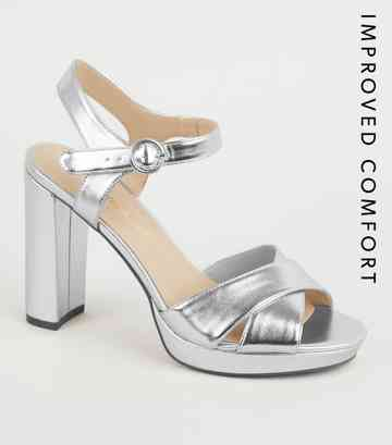 Silver Metallic Cross Strap Block Heels