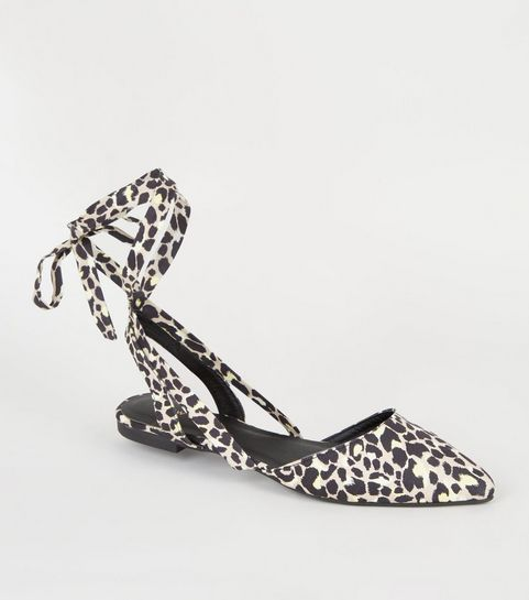 8364deb08087c5 ... Stone Leopard Print Pointed Ankle Tie Pumps ...