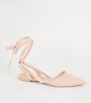 Pink Suedette Pointed Ankle Tie Pumps