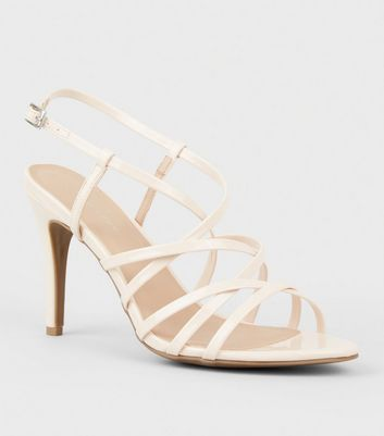 Nude Patent Strappy Stiletto Heel Sandals