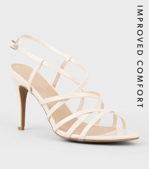 fa9e0b1537b ... Nude Patent Strappy Stiletto Heel Sandals ...