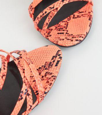 shop for Orange Faux Snake Strappy Stilettos New Look at Shopo