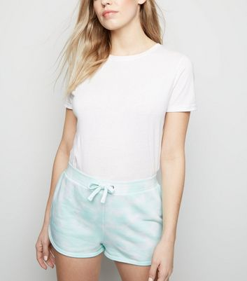 Mint Green Tie Dye Jersey Shorts