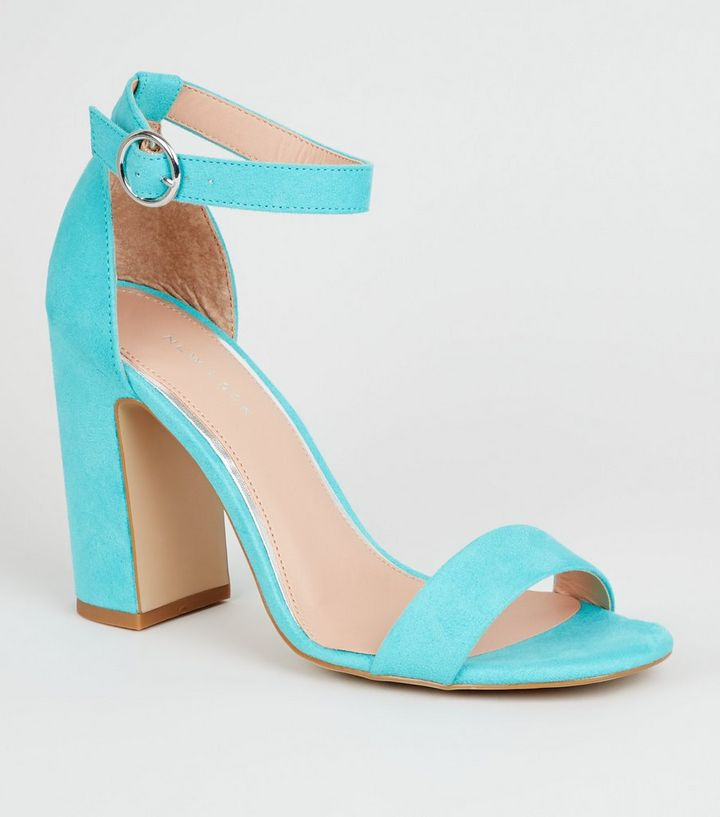 grande qualité qualité parfaite top design Chaussures à talons bloc à deux parties en suédine bleu turquoise Ajouter à  la Wishlist Supprimer de la Wishlist