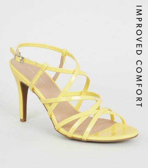 4acf6c9a23c ... Yellow Patent Strappy Stiletto Heels ...