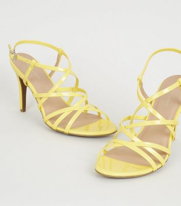 shop for Yellow Patent Strappy Stiletto Heels New Look at Shopo