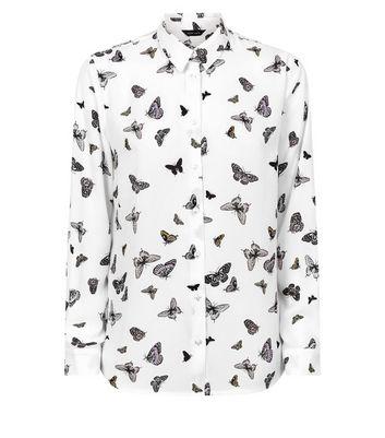 White Chiffon Butterfly Long Sleeve Shirt New Look