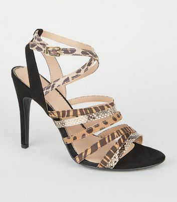 Camel Mixed Animal Print Strappy Heel Sandals