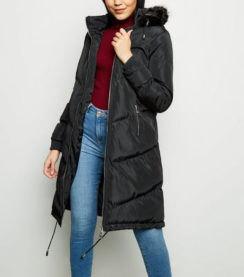 Blue Vanilla Black Chevron Hooded Puffer Coat