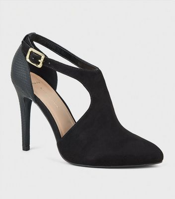 Wide Fit Black Suedette Cut Out Shoe Boots