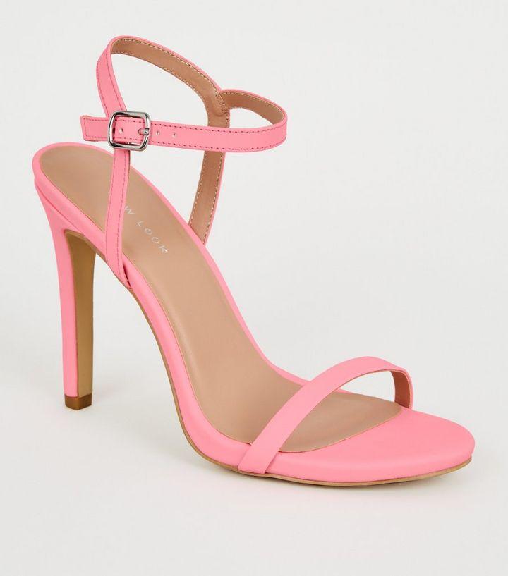 00f95e47403e Coral Reflective Barely There Stiletto Sandals
