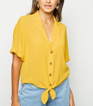 Yellow Tie Front Boxy Shirt