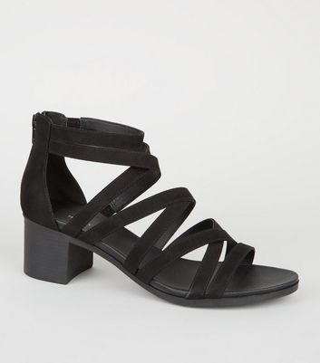 Black Strappy Low Block Heel Footbed Sandals