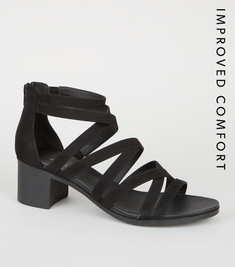 dd1d3e2de15 ... Black Strappy Low Block Heel Footbed Sandals ...