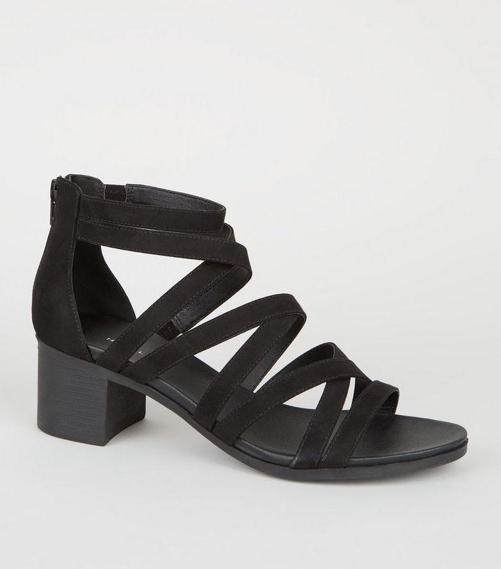 4d75a8ec06b0 Black Strappy Low Block Heel Footbed Sandals