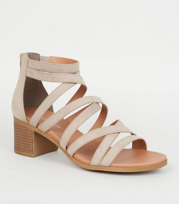 Light Brown Strappy Low Block Heel Footbed Sandals