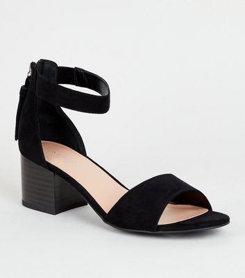 Black Suedette Tassel Zip Low Block Heels