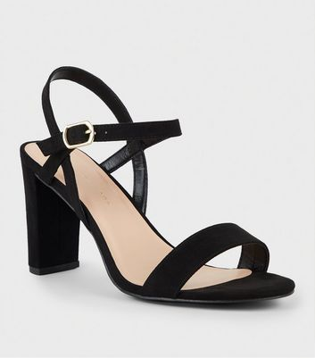 Extra Wide Fit Black Suedette 2 Part Block Heels
