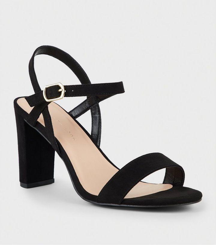 3e4b1cc55b1 Extra Wide Fit Black Suedette 2 Part Block Heels