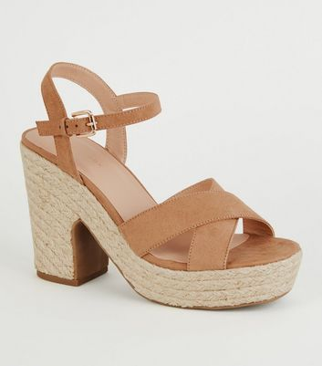 Light Brown Espadrille Platform Cross Strap Heels