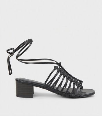 Black Woven Knot Strappy Mules