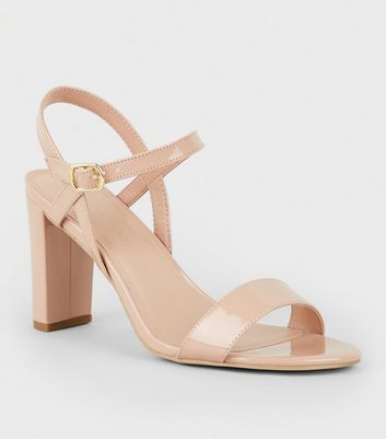 Extra Wide Fit Nude Patent Block Heel Sandals