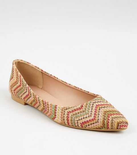 5087c1d7c8bd ... Multicoloured Woven Zig Zag Pointed Ballet Pumps ...
